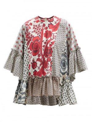 Matchesfashion Biyan - Sello Patchwork Cotton Blouse - Womens - Red Multi