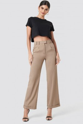 NA-KD Trend NA-KD Trend Highwaist Rolled up hem pants - Beige