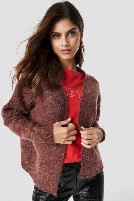 NA-KD Trend Wool Blend Short Cardigan - Red