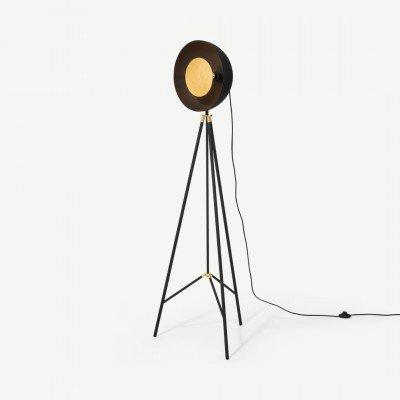 MADE.COM Ward staande lamp, zwart en goudfolie