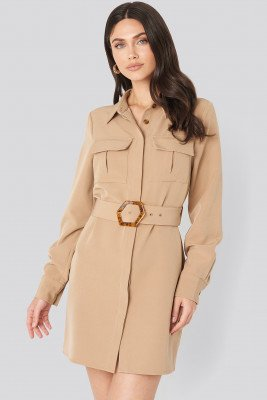 NA-KD Trend NA-KD Trend Belted Straight Fit Shirt Dress - Beige