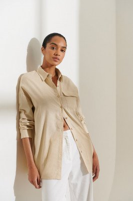 Curated Styles Curated Styles Oversized Shirt - Beige