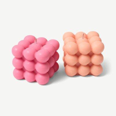 MADE.COM Bubble Candle Foam set van 2 sandelhout en vanille bubbelkaarsen