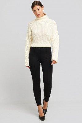 NA-KD NA-KD Front Seam Jersey Pants - Black