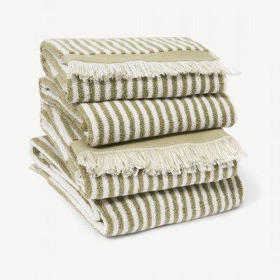 MADE.COM Kees set van 4 handdoeken, 100% katoen, lichtgroen
