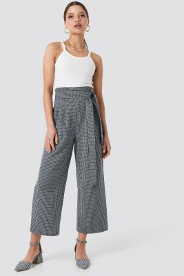 NA-KD Trend Tie Waist Cropped Wide Pants - Blue
