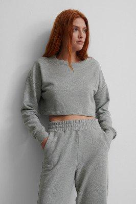 NA-KD Basic NA-KD Basic Organisch Cropped Sweater - Grey