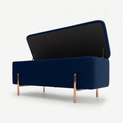 MADE.COM Asare bank met opslagruimte, 110cm, koningsblauw fluweel en koperen poten