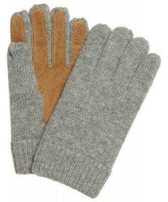 Profuomo Profuomo heren grijze gebreide handschoenen met suède