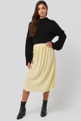 NA-KD Trend NA-KD Trend Pleated Detailed Hem Skirt - Yellow