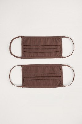 NA-KD Accessories NA-KD Accessories 2-Pack Solid Flat Masks - Brown