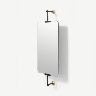 MADE.COM Zenia beweegbare wandspiegel, 35 x 60 cm, matzwart en geborsteld messing