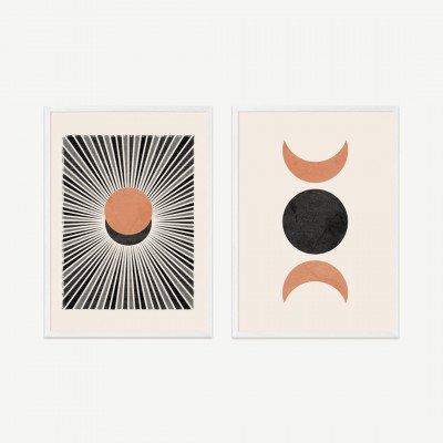 MADE.COM N Minet, 'Sunset Moonrise', set van 2 ingelijste prints, A2
