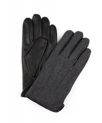Profuomo Profuomo heren donkergrijze wollen leren handschoenen