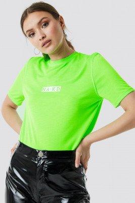 NA-KD Neon Logo Tee - Green
