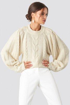 Tina Maria x NA-KD Tina Maria x NA-KD Chunky Cable Knitted Sweater - White