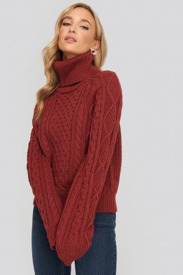NA-KD NA-KD High Neck Cable Knitted Sweater - Red