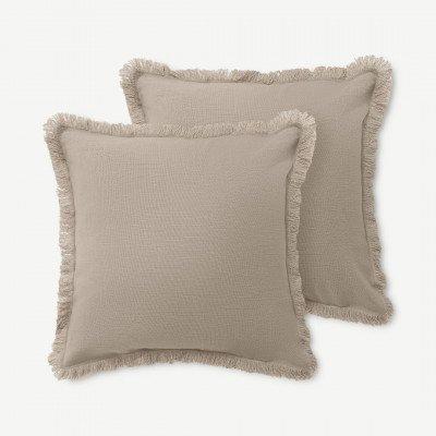 MADE.COM Sheedy set van 2 kussens met franje, 45 x 45 cm, grijs en papyruswit