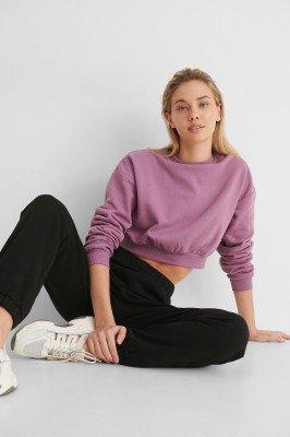 NA-KD Reborn NA-KD Reborn Organisch Cropped Sweater - Purple