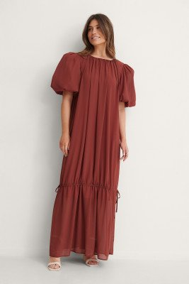 NA-KD Trend NA-KD Trend Big Puff Sleeve Chiffon Dress - Red