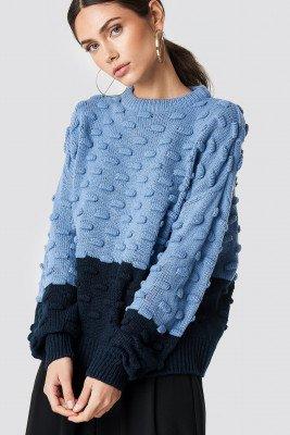 NA-KD NA-KD Bubble Stitch Knitted Sweater - Blue