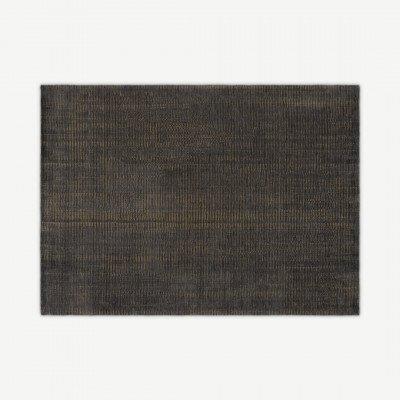 MADE.COM Johson luxe vloerkleed, Large 160 x 230cm, houtskoolgrijs en goud