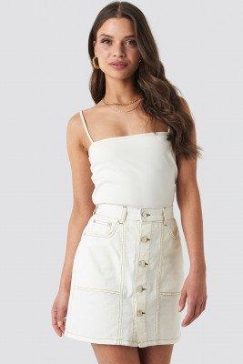 NA-KD NA-KD Contrast Stitch Button Up Mini Skirt - Beige