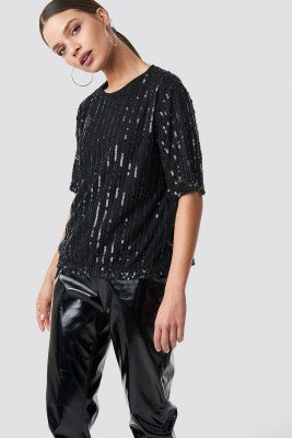 NA-KD Party Sequins Top - Black