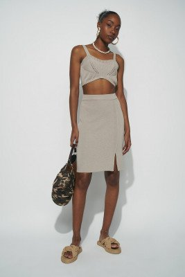 nu-in Front Slit Knitted Midi Skirt