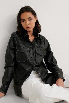 NA-KD Trend NA-KD Trend Pu-Shirt - Black