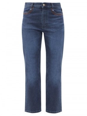 Matchesfashion Chloé - Logo-print Topstitched Straight-leg Cropped Jeans - Womens - Denim