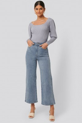 NA-KD NA-KD Culotte Jeans - Blue