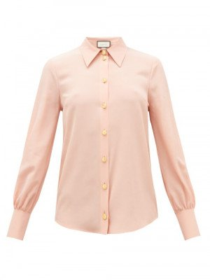 Matchesfashion Gucci - Anchor-button Silk-crepe Blouse - Womens - Pink