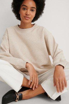 NA-KD Basic NA-KD Basic Recht Cropped Organisch Geborsteld Sweatshirt - Beige