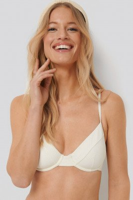 NA-KD Swimwear Structured Thin Strap Bikini Cup Bra - White