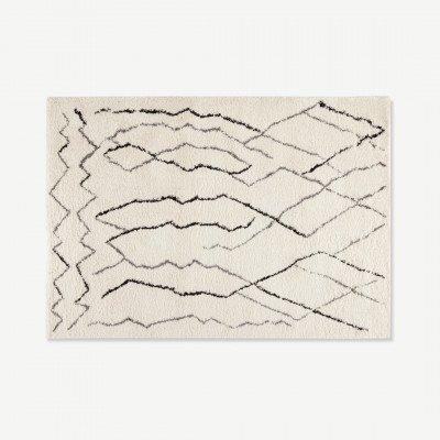 MADE.COM Cecily hoogpolig vloerkleed 160 x 230cm, gebroken wit en grijs