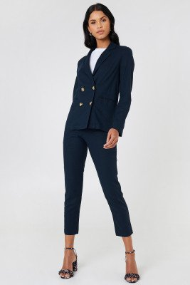 NA-KD Classic Linen Look Pants - Blue