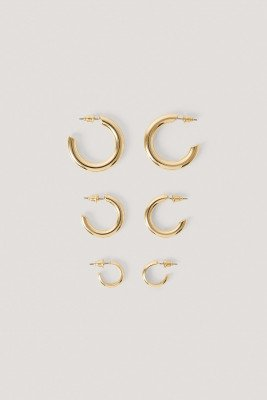 NA-KD Accessories 3-Pack Chubby Oorringen - Gold