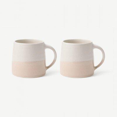 MADE.COM Kinto set van 2 mokken, 320 ml, wit met roze en beige