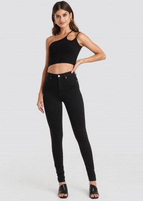 NA-KD NA-KD Skinny High Waist Raw Hem Jeans Tall - Black