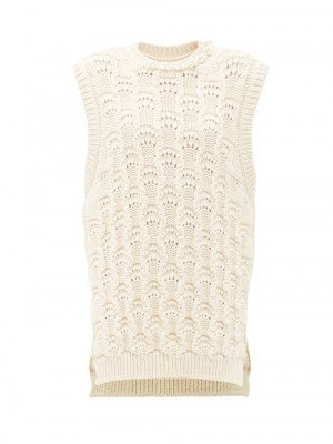 Matchesfashion Simone Rocha - Faux Pearl-embellished Organic-cotton Sweater Vest - Womens - Cream