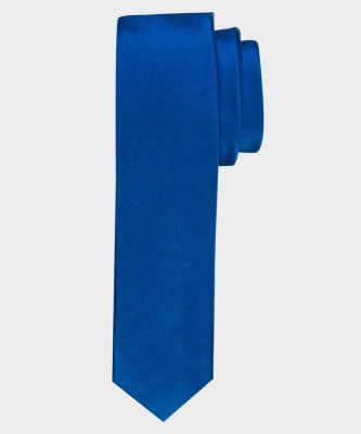 Michaelis Michaelis heren satijn smalle zijden stropdas blauw