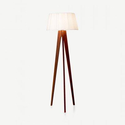 MADE.COM Miller driepoot staande lamp, walnoot en donkerblauw