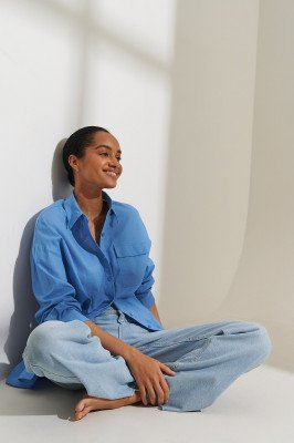 Curated Styles Curated Styles Oversized Shirt - Blue