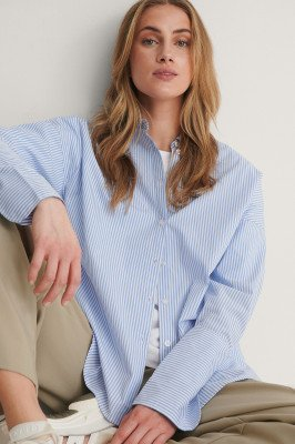 NA-KD Classic NA-KD Classic Gerecycleerd Blouse Met Brede Manchetten - Blue