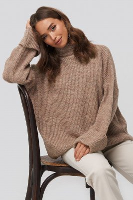 NA-KD NA-KD Folded Sleeve Turtle Neck Knitted Sweater - Pink