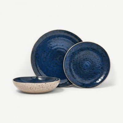 MADE.COM Edolie 12-delig serviesset van keramiek met reactief glazuur, tweekleurig, lichtbeige en kobaltblauw