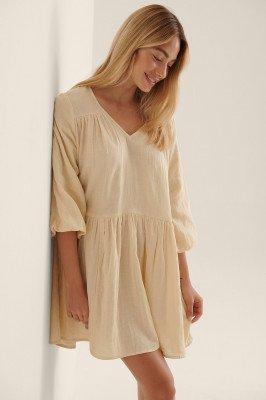 NA-KD Boho NA-KD Boho Organisch Katoenen Mini-jurk - Beige