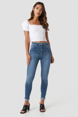 NA-KD NA-KD Skinny Raw Hem Jeans - Blue