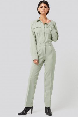 NA-KD Classic NA-KD Classic Creased Mid Rise Suit Pants - Green